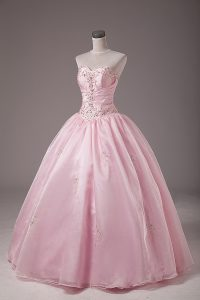 Customized Baby Pink Ball Gowns Beading and Embroidery Quinceanera Gown Lace Up Organza Sleeveless Floor Length