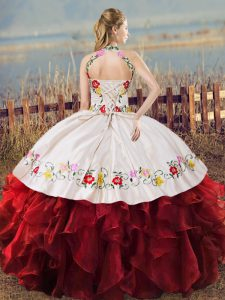 New Style Sleeveless Organza Floor Length Lace Up Quinceanera Gowns in White And Red with Embroidery and Ruffles