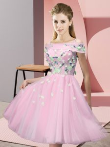 Classical Off The Shoulder Short Sleeves Quinceanera Court Dresses Knee Length Appliques Baby Pink Tulle