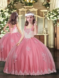 Great Appliques Custom Made Pageant Dress Watermelon Red Lace Up Sleeveless Floor Length