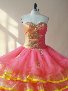 Sleeveless Lace Up Beading and Ruching Ball Gown Prom Dress