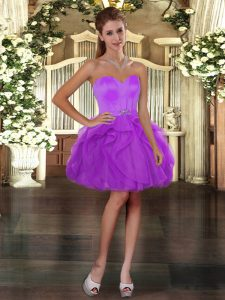 Beautiful Lilac Sweetheart Neckline Beading and Ruffles Vestidos de Quinceanera Sleeveless Lace Up