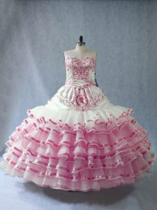 Luxurious Pink And White Sleeveless Floor Length Embroidery and Ruffled Layers and Bowknot Lace Up 15 Quinceanera Dress