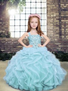 Ball Gowns Little Girls Pageant Dress Wholesale Light Blue Straps Tulle Sleeveless Floor Length Lace Up