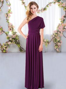 Empire Dama Dress for Quinceanera Dark Purple One Shoulder Chiffon Sleeveless Floor Length Criss Cross