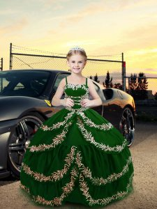 Custom Fit Dark Green Straps Neckline Embroidery Little Girl Pageant Gowns Sleeveless Lace Up