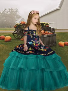 Charming Floor Length Lace Up Little Girls Pageant Dress Teal for Party and Wedding Party with Embroidery and Ruffled Layers