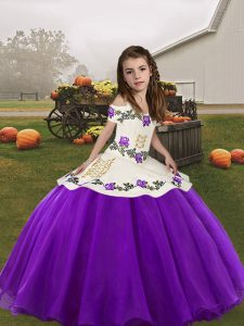 Sleeveless Lace Up Embroidery Pageant Dress Womens