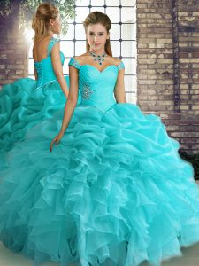 Off The Shoulder Sleeveless Lace Up Sweet 16 Dresses Aqua Blue Organza