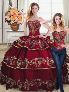 Two Pieces Vestidos de Quinceanera Wine Red Sweetheart Satin and Organza Sleeveless Lace Up