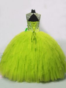 Edgy Sleeveless Floor Length Beading and Ruffles Lace Up Quince Ball Gowns with Yellow Green