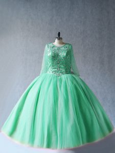 Perfect Floor Length Apple Green 15 Quinceanera Dress Tulle Long Sleeves Beading