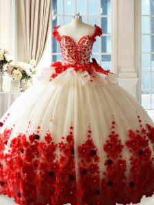 Red Quinceanera Gowns Tulle Brush Train Sleeveless Hand Made Flower