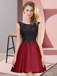 Wine Red Scoop Zipper Lace Damas Dress Sleeveless