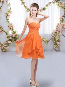 Ruffles and Ruching Quinceanera Court Dresses Orange Lace Up Sleeveless Knee Length