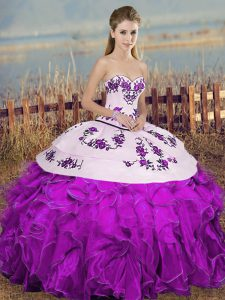 Fitting White And Purple Sleeveless Floor Length Embroidery and Ruffles and Bowknot Lace Up Quinceanera Gowns