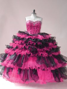 Pink And Black Sleeveless Beading and Ruffled Layers Lace Up Sweet 16 Dresses