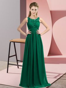 Perfect Floor Length Empire Sleeveless Peacock Green Quinceanera Court Dresses Zipper