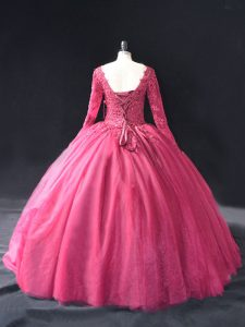 Pretty Hot Pink Ball Gowns Lace and Appliques Quinceanera Gowns Lace Up Tulle Long Sleeves Floor Length