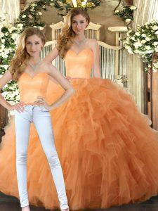 Glamorous Tulle Sweetheart Sleeveless Lace Up Ruffles Vestidos de Quinceanera in Orange