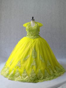 Yellow Green Sleeveless Tulle Court Train Lace Up Sweet 16 Dress for Sweet 16 and Quinceanera