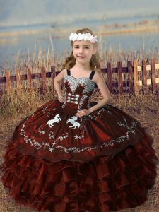 Rust Red Straps Lace Up Embroidery and Ruffled Layers Pageant Gowns For Girls Sleeveless