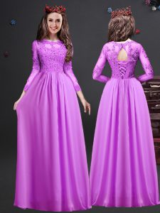 Modern Lilac Scoop Lace Up Appliques Quinceanera Court of Honor Dress Long Sleeves