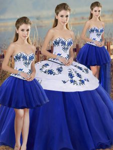 Glamorous Royal Blue Sweetheart Lace Up Embroidery and Bowknot 15 Quinceanera Dress Sleeveless