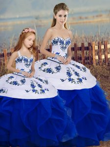 Royal Blue Ball Gowns Tulle Sweetheart Sleeveless Embroidery and Ruffles and Bowknot Floor Length Lace Up Sweet 16 Quinceanera Dress