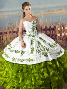 Extravagant Olive Green Satin and Organza Lace Up 15th Birthday Dress Sleeveless Floor Length Embroidery and Ruffles