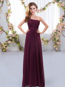 Burgundy Empire One Shoulder Sleeveless Chiffon Floor Length Zipper Ruching Quinceanera Court Dresses
