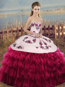 Glorious White And Red Lace Up 15th Birthday Dress Embroidery and Ruffled Layers and Bowknot Sleeveless Floor Length