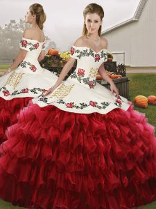 Best Off The Shoulder Sleeveless Lace Up Quinceanera Gowns Wine Red Organza