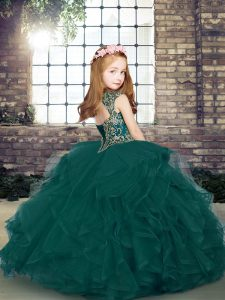 New Style Peacock Green Ball Gowns Straps Sleeveless Tulle Floor Length Lace Up Beading and Ruffles Evening Gowns