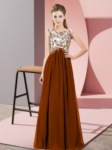Deluxe Floor Length Zipper Quinceanera Court of Honor Dress Brown for Wedding Party with Beading and Appliques
