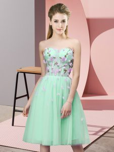 Fabulous Apple Green Empire Tulle Sweetheart Sleeveless Appliques Knee Length Lace Up Court Dresses for Sweet 16