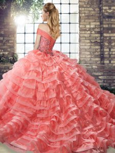 Sweet Organza Off The Shoulder Sleeveless Brush Train Lace Up Beading and Ruffled Layers Quinceanera Dresses in Yellow