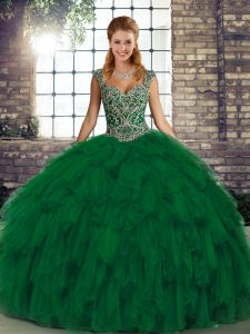 Green Ball Gowns Organza Straps Sleeveless Beading and Ruffles Floor Length Lace Up Quince Ball Gowns