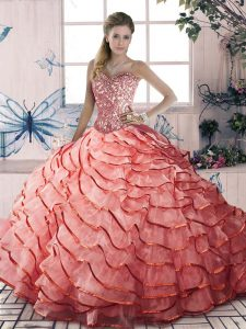 Modern Watermelon Red Quinceanera Gown Organza Brush Train Sleeveless Beading and Ruffled Layers