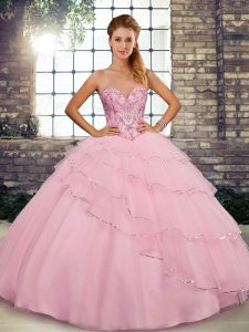 Excellent Baby Pink Tulle Lace Up Sweetheart Sleeveless 15th Birthday Dress Brush Train Beading and Ruffled Layers