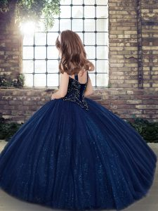 Custom Made Eggplant Purple Ball Gowns Straps Sleeveless Tulle Floor Length Lace Up Beading Custom Made Pageant Dress