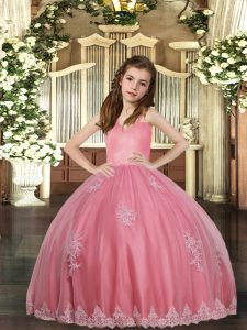 Discount Watermelon Red Little Girl Pageant Gowns Party and Sweet 16 and Wedding Party with Appliques Straps Sleeveless Lace Up