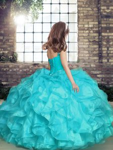 Sleeveless Organza Floor Length Lace Up Little Girl Pageant Gowns in with Beading and Ruffles and Ruching