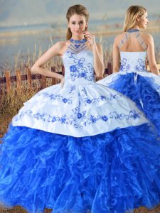 Blue And White Organza Lace Up 15th Birthday Dress Sleeveless Court Train Embroidery and Ruffles