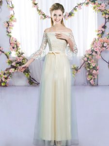 Lovely 3 4 Length Sleeve Lace and Bowknot Lace Up Quinceanera Court Dresses