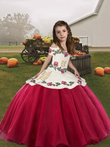 Best Sleeveless Lace Up Floor Length Embroidery Kids Formal Wear