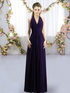Floor Length Zipper Quinceanera Dama Dress Dark Purple for Wedding Party with Ruching