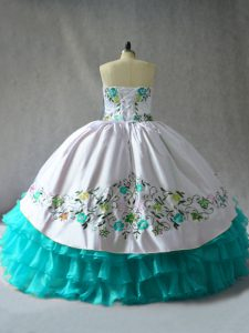 Floor Length Lace Up Sweet 16 Quinceanera Dress Blue And White for Sweet 16 and Quinceanera with Embroidery and Ruffled Layers