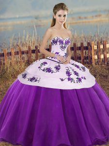 White And Purple Sweetheart Neckline Embroidery and Bowknot Vestidos de Quinceanera Sleeveless Lace Up