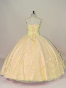 Yellow Ball Gowns Sweetheart Sleeveless Tulle Floor Length Lace Up Beading and Hand Made Flower Sweet 16 Quinceanera Dress